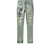 Mx1 Skinny-fit Appliquéd Faux Snake-panelled Distressed Stretch-denim Jeans - Light denim