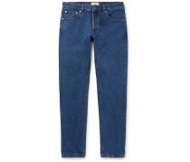 Slim-fit Washed Denim Jeans - Blue