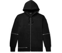 Oversized Zip-detailed Fleece-back Cotton-jersey Zip-up Hoodie - Black