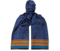 Webbing-trimmed Jacquard-knit Scarf - Blue