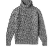 Mélange Cable-Knit Wool and Cashmere-Blend Rollneck Sweater