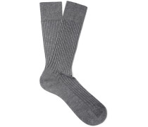 Danvers Ribbed Mercerised Cotton-blend Socks - Gray