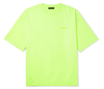 Oversized Printed Cotton-jersey T-shirt - Green