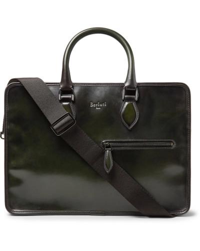 Un Jour Leather Briefcase - Dark green