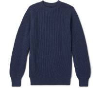 Ribbed Cashmere Sweater - Navy
