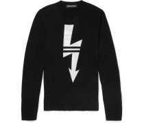 Slim-fit Intarsia Wool Sweater - Black