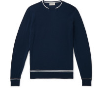 Slim-fit Contrast-tipped Merino Wool Sweater - Navy