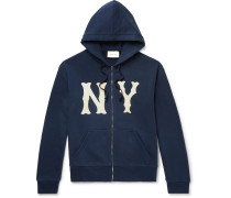 + New York Yankees Appliquéd Loopback Cotton-jersey Zip-up Hoodie