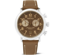 The Runwell Chronograph 41mm Stainless Steel And Leather Watch - Brown