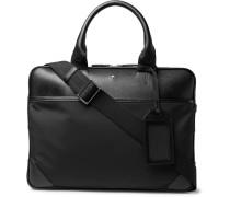 Sartorial Jet Nylon-panelled Cross-grain Leather Briefcase - Black