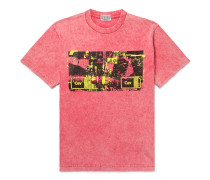 Acid-Washed Printed Cotton-Jersey T-Shirt