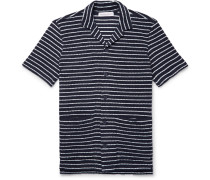 Travis Camp-collar Striped Cotton-terry Shirt - Midnight blue