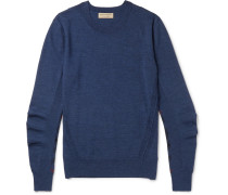 Check-panelled Merino Wool Sweater - Blue