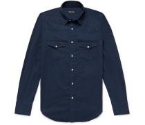 Slim-fit Indigo-dyed Cotton-chambray Western Shirt