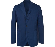 Dark-blue Slim-fit Unstructured Garment-dyed Cotton Blazer - Blue