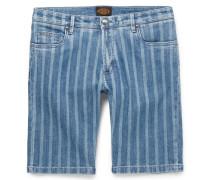 Slim-fit Striped Stretch-denim Shorts