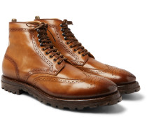Aspen Burnished-leather Wingtip Brogue Boots