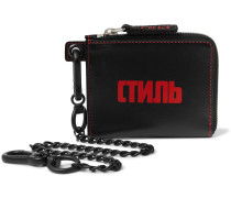 Chain-Embellished Logo-Print Leather Zip-Around Wallet
