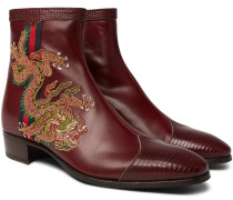 Webbing-trimmed Embroidered Leather Chelsea Boots - Red