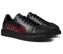 Logo-Print Rubber-Trimmed Leather Sneakers