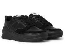 Suede And Leather Sneakers - Black