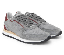 Leather And Suede-trimmed Mesh Sneakers - Gray