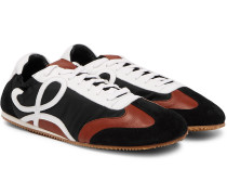 Leather and Suede-Trimmed Nylon Sneakers