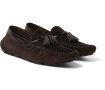 Polished Leather-trimmed Suede Loafers