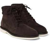 Icer Walk Cashmere-trimmed Suede Boots - Brown