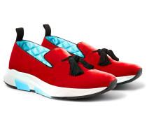Tuner Tasselled Velvet Slip-on Sneakers - Red