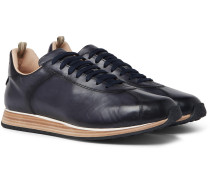 Keino Polished-leather Sneakers - Navy