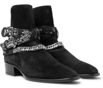 Bandana And Chain-detailed Suede Jodhpur Boots