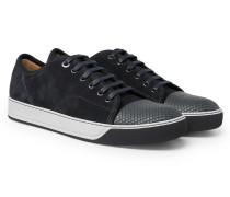 Dbb1 Cap-toe Suede And Textured-leather Sneakers - Gray