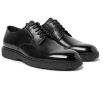 Ferdia Polished-leather Derby Shoes - Black