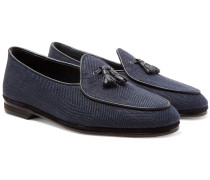 Marphy Leather and Suede-Trimmed Herringbone Linen Tasselled Loafers
