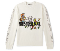 Printed Stretch-Cotton Blend Sweater