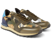Valentino Garavani Rockrunner Camouflage-print Canvas, Leather And Suede Sneakers - Green