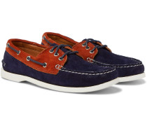 Downeast Two-tone Suede Boat Shoes - Navy