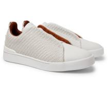 Triple Stitch Pelle Tessuta Leather Slip-on Sneakers - Off-white