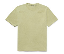 Logo-Embroidered Acid-Washed Cotton-Jersey T-Shirt
