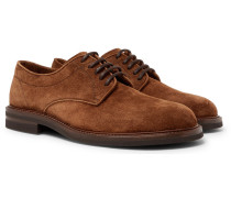 Suede Derby Shoes - Dark brown