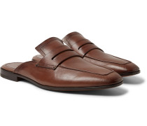 Lorenzo Leather Backless Loafers - Chocolate