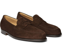 Lopez Suede Penny Loafers - Dark brown
