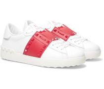 Valentino Garavani Rockstud Untitled Striped Leather Sneakers - White