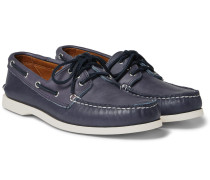 Downeast Leather Boat Shoes - Navy