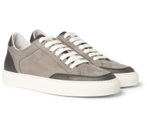 Leather-trimmed Nubuck Sneakers