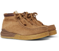 Beuys Trekker Folk Leather-trimmed Suede Boots - Brown