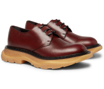 Exaggerated-sole Leather Derby Shoes - Brick