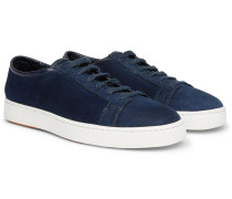 Shearling-lined Cashmere-trimmed Suede Sneakers