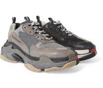 Triple S Mesh, Nubuck And Leather Sneakers - Gray